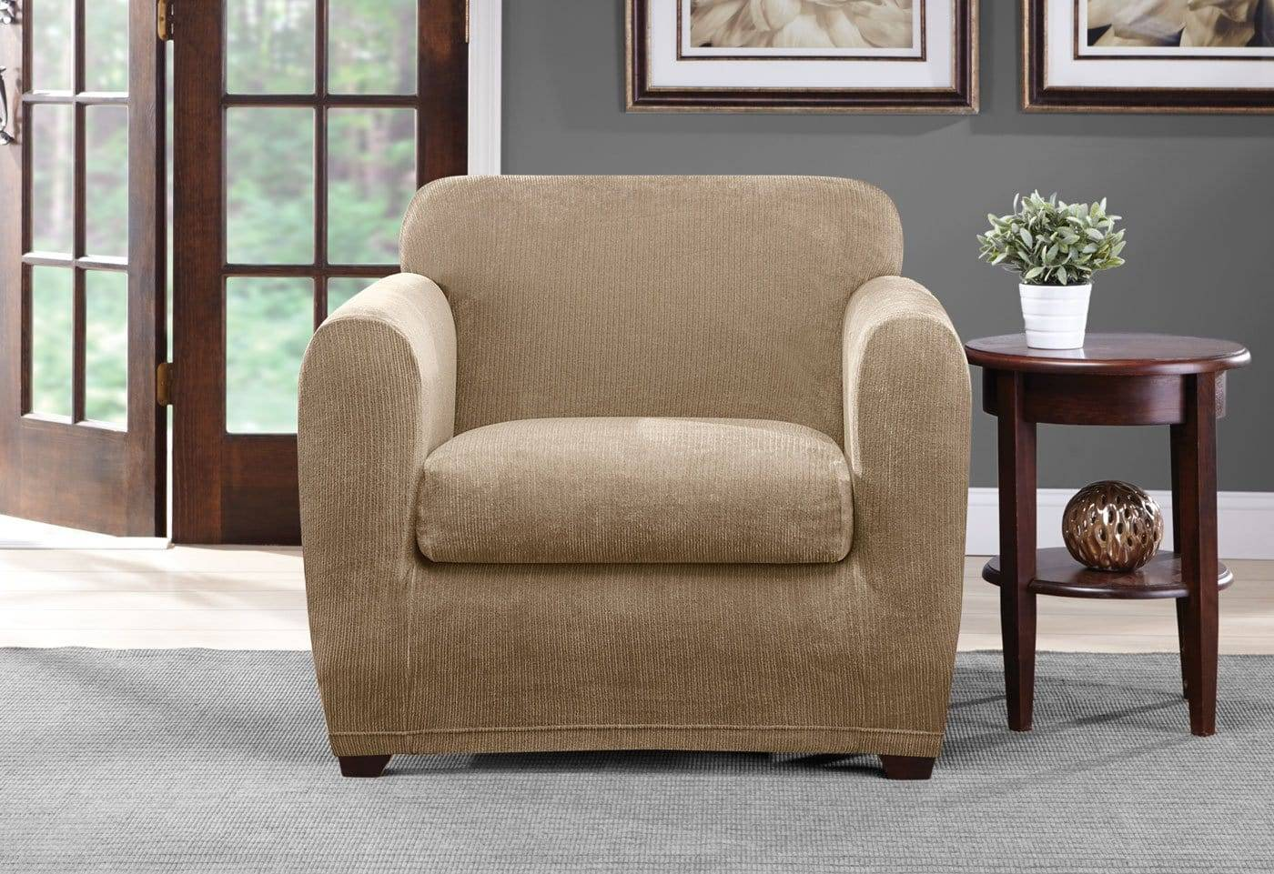 Ultimate Stretch Chenille Two Piece Chair Slipcover - Chair / Box Cushion / Tan