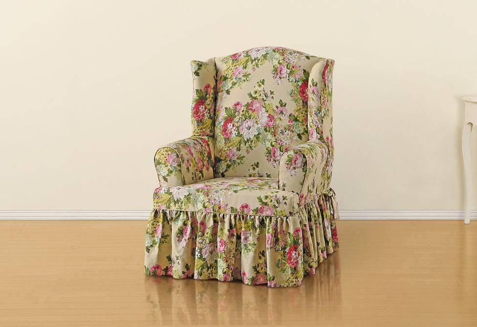 Juliet By Waverly One Piece Wing Chair Slipcover T-Cushion 100% Cotton Machine Washable - Wing Chair / T-Cushion / Bliss