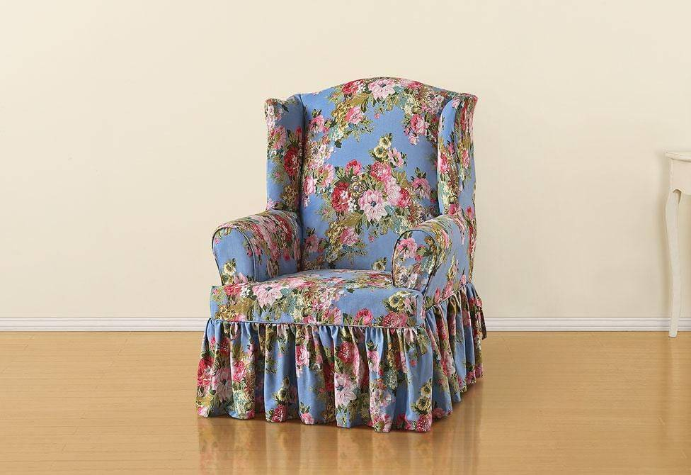 Juliet By Waverly One Piece Wing Chair Slipcover T-Cushion 100% Cotton Machine Washable - Wing Chair / T-Cushion / Chambray