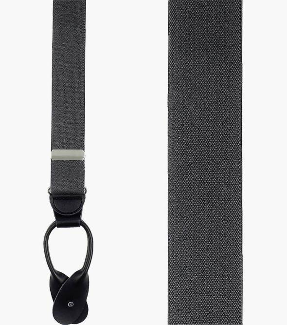 Stacy Adams Button Suspenders Button Suspenders Solid Gray Men's Suspenders - Stacyadams.com Gray