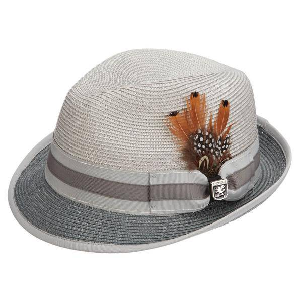 Stacy Adams Carson Fedora Carson Fedora Feather Detail Grosgrain Pinch Front Hat Men's Hats Gray