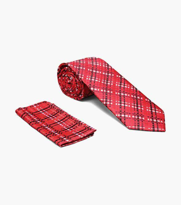Stacy Adams Maddox Maddox Tie & Hanky Set Men's Ties Red