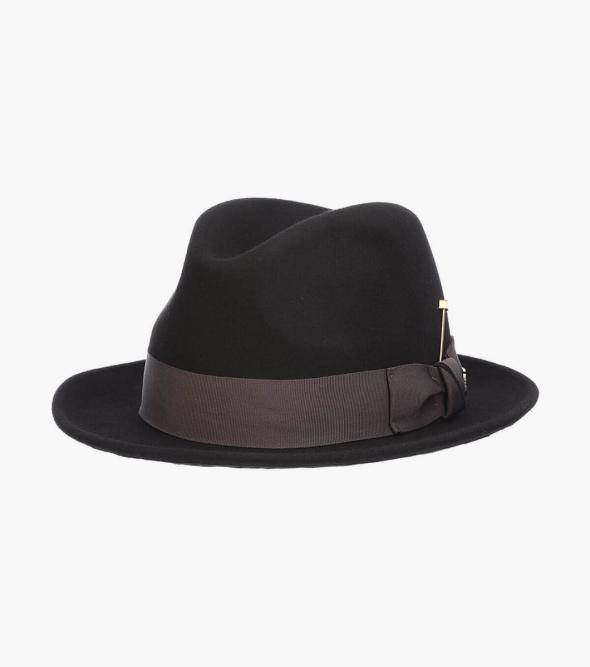 Stacy Adams Highland Fedora Highland Fedora Wool Felt Pinch Front Hat Men's Hats Black Bordeaux Brown
