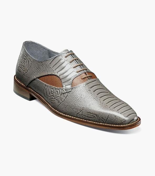 Stacy Adams Ricoletti Ricoletti Leather Sole Plain Toe Oxford Men's Dress Shoes Black and Red Black/Gray Cognac Multi Gray Multi