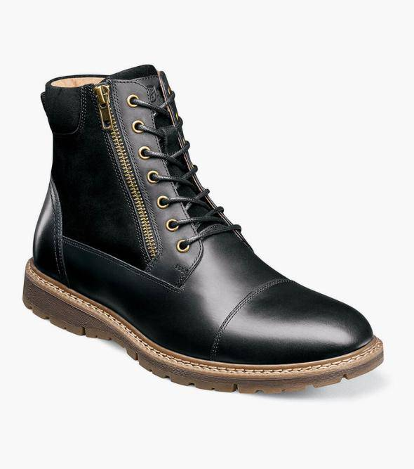 Stacy Adams Griffyth Griffyth Cap Toe Lace Up Zip Boot Men's Casual Shoes Black Waxy Navy/Brown Olive/Brown