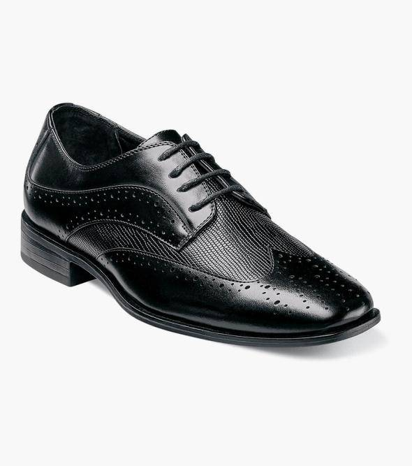 Stacy Adams Boys Maximillian Boys Maximillian Wingtip Oxford Boy's Dress Shoes Black