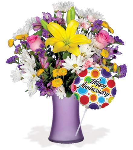 Blooms Today European Garden with Vase & Anniversary Balloon Flower Delivery