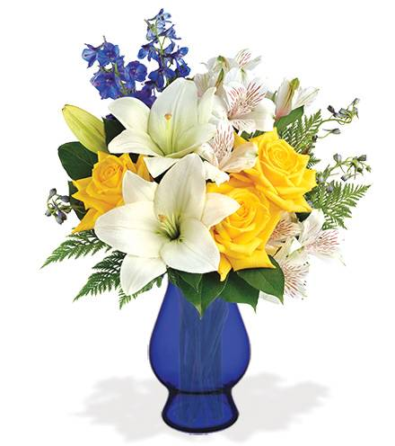 Blooms Today Oceanside Garden with Blue Vase Flower Delivery