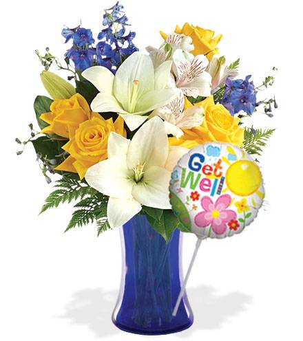 Blooms Today Oceanside Garden with Vase & Get Well Balloon Flower Delivery