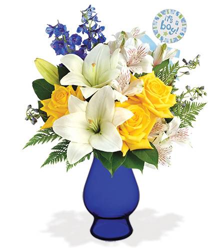 Blooms Today Oceanside Garden with Blue Vase & Baby Pick Flower Delivery