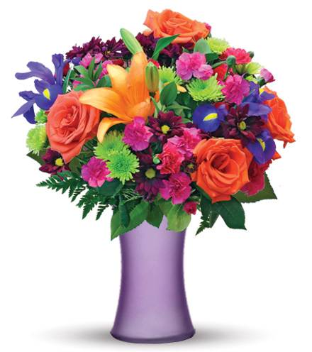 Blooms Today Vibrant Garden with Purple Vase Flower Delivery