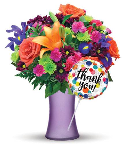 Blooms Today Vibrant Garden with Purple Vase & Thank You Balloon Flower Delivery