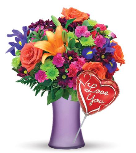Blooms Today Vibrant Garden with Love Balloon Flower Delivery