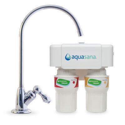 Aquasana 2-Stage Under Counter Water Filter, Chrome, 1/2 Year/500 Gallon (AQ-5200.56)