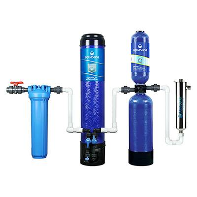 Aquasana OptimH2O® Whole House Water Filter System For Home With Salt-Free Water Conditioner And UV Filter (EQ-OPTM) Aquasana