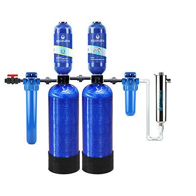 Aquasana Rhino Whole House Well Water Filter, Salt-Free Water Conditioner, UV Light Filter (EQ-WELL-UV-AST) Aquasana
