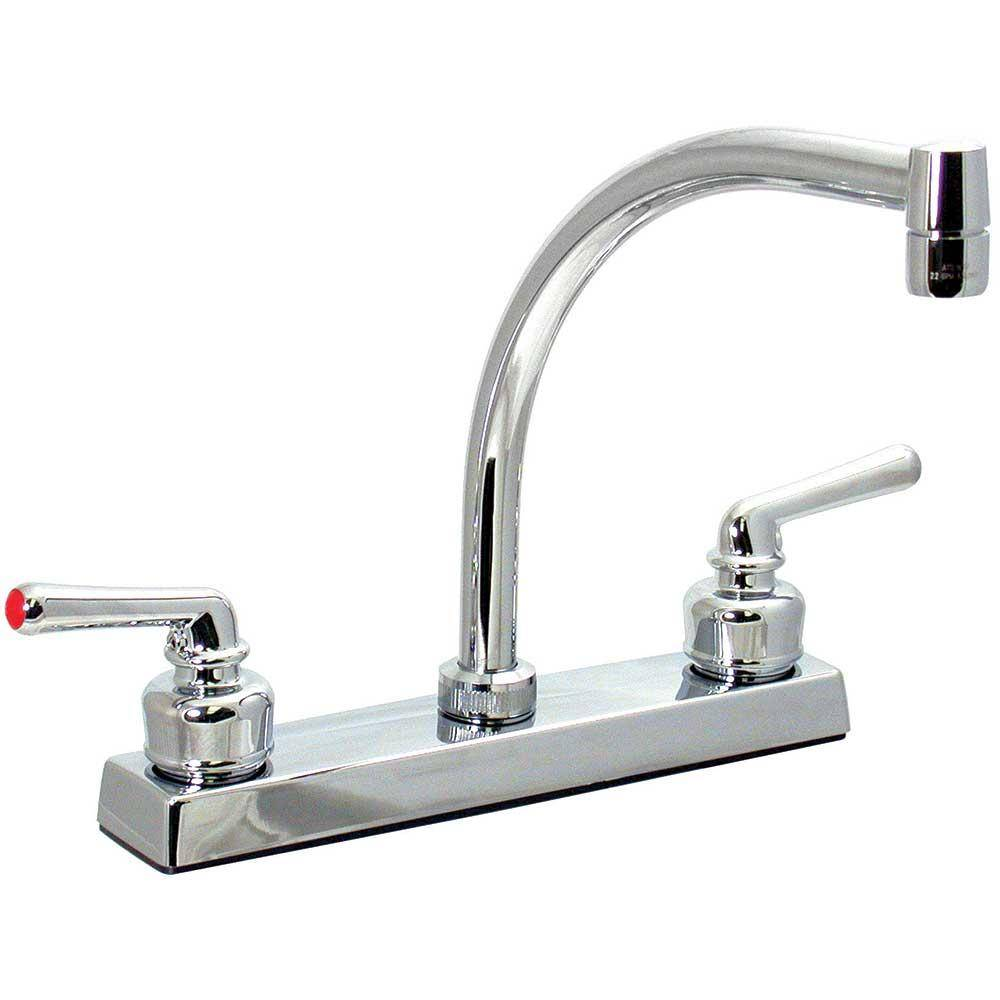 Valterra Chrome Finish Hi Arc Kitchen Faucet with Tea Cup Handles