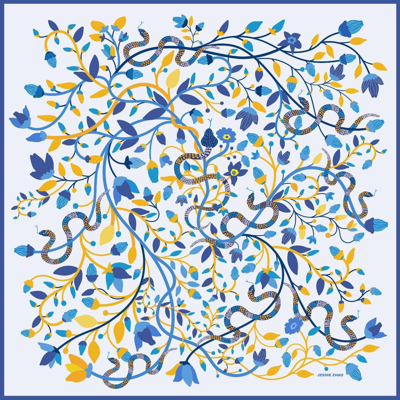 Jessie Zhao New York - Silk Scarf Of Blue Snake Garden