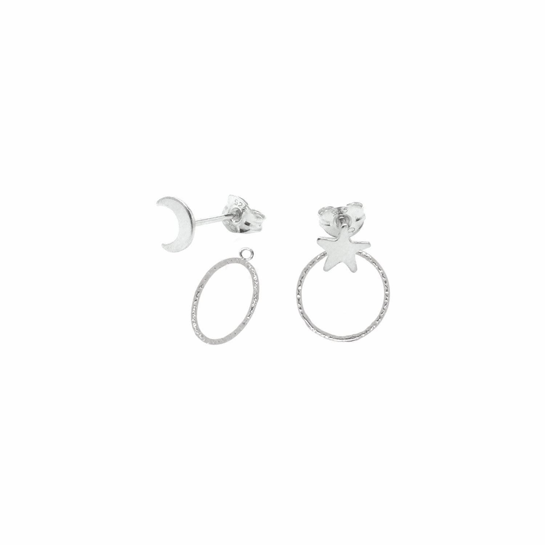 Lucy Ashton Jewellery - Moon & Star Stud Earrings & Ear Jackets Sterling Silver