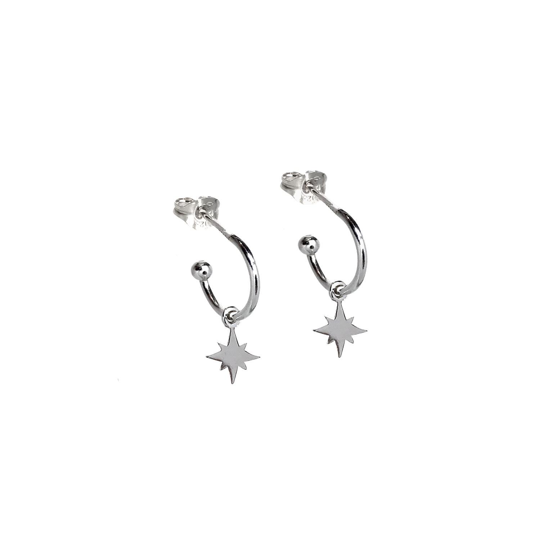 Lucy Ashton Jewellery - Mini Star Hoop Earrings Sterling Silver