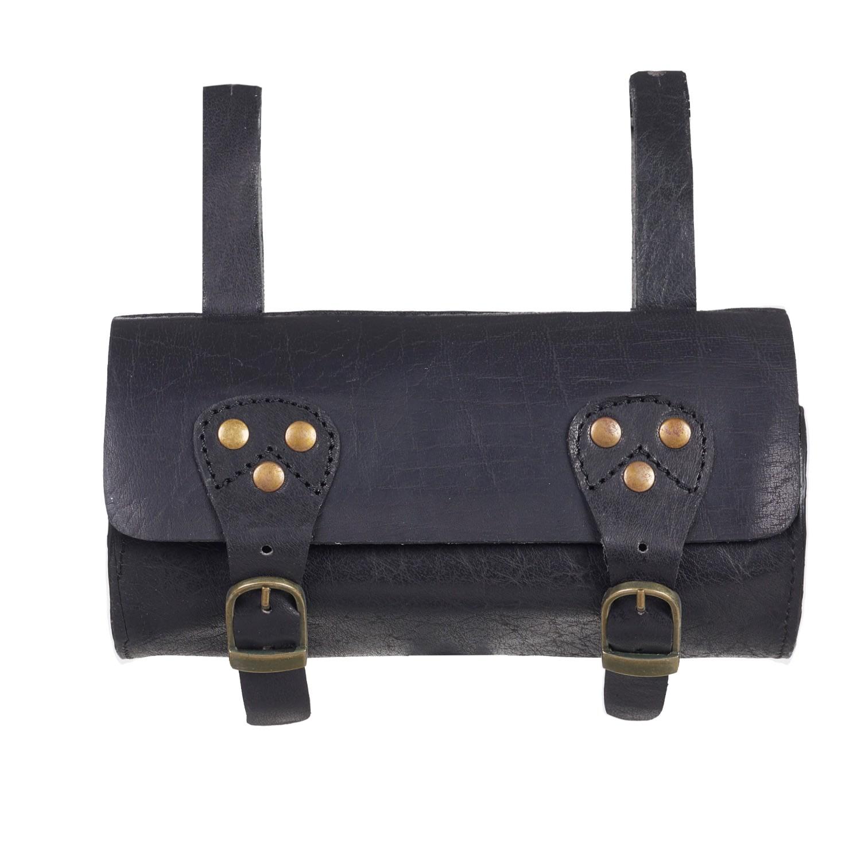 VIDA VIDA - Classic Black Leather Bike Saddle Bag