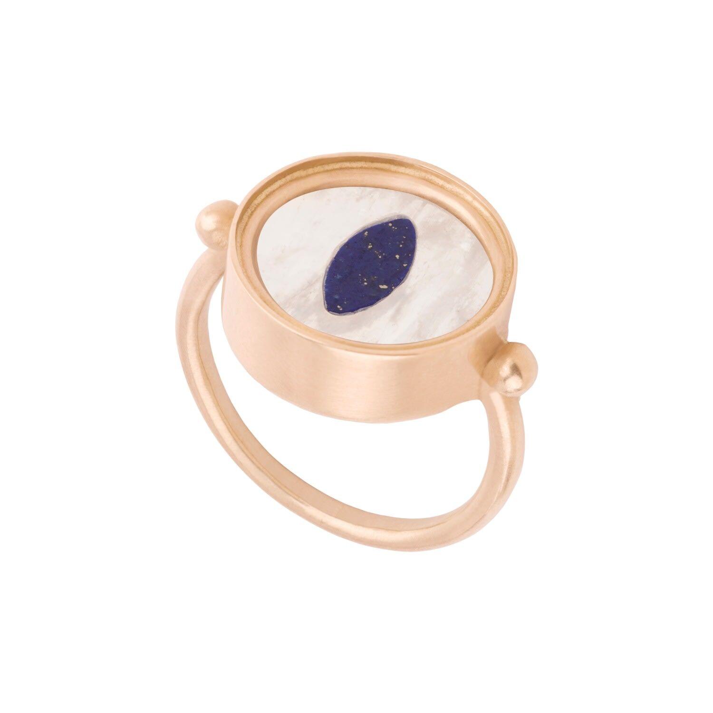 Ouroboros Jewellery - Snake Eye Lapis Lazuli & Rainbow Monnstone Gold Ring