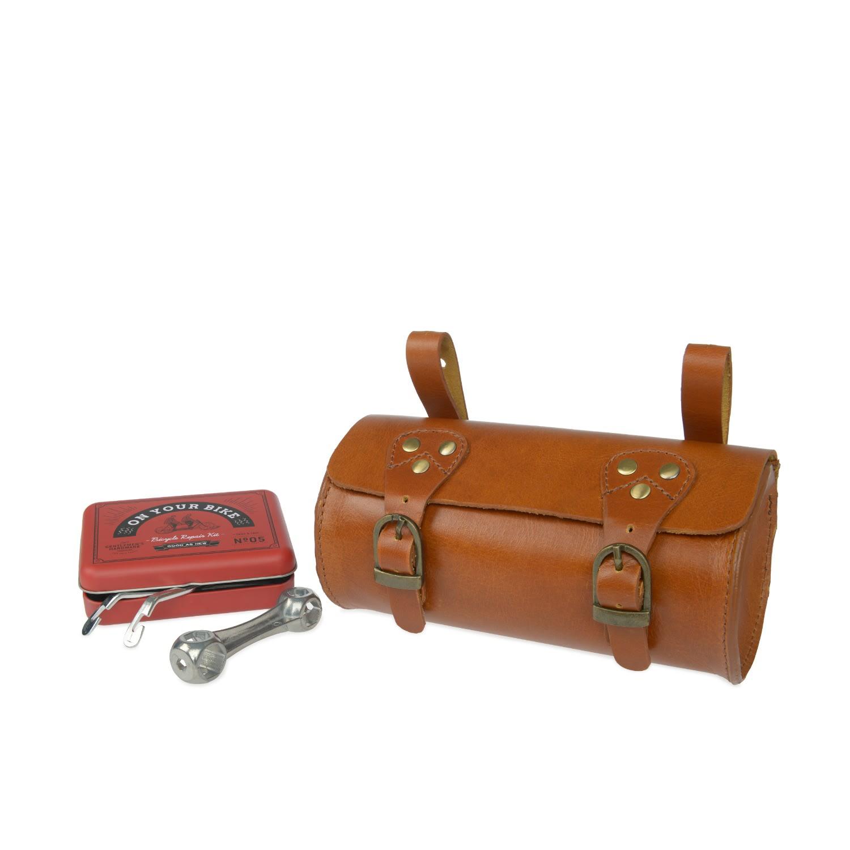 VIDA VIDA - Leather Bike Saddle Bag in Tan with Tool set