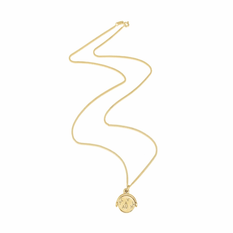 Auree Jewellery - Seychelles Yellow Gold Spinning Love Laugh Travel Pendant