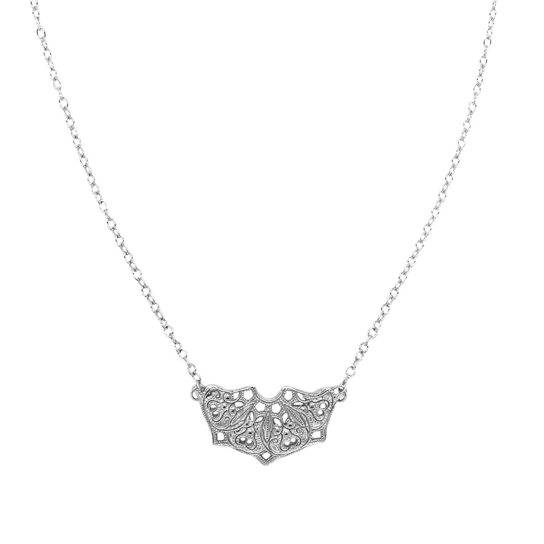 Lucy Ashton Jewellery - Silver Half Moon Mandala Necklace