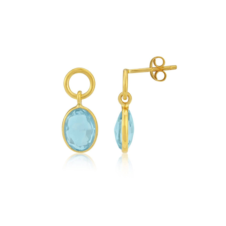 Auree Jewellery - Cannes Gold Vermeil Circle & Blue Topaz Drop Earrings