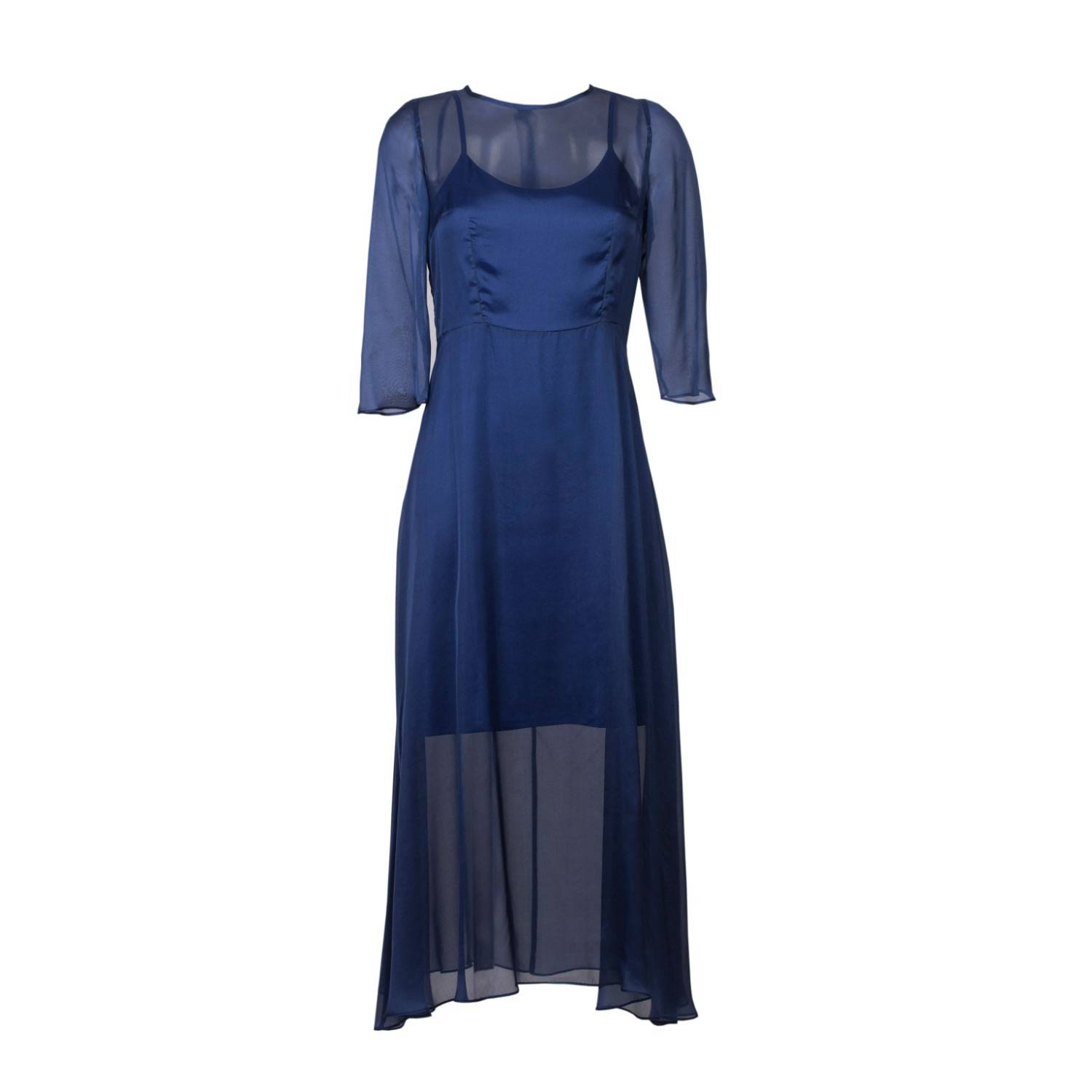 Roses Are Red - Silk Mousseline Dress In Blue