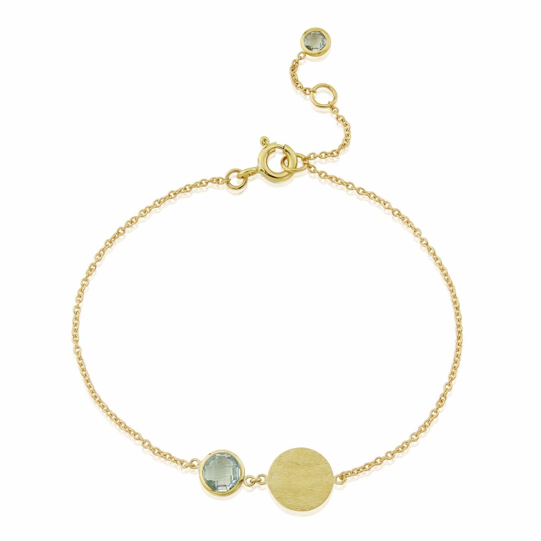 Auree Jewellery - Bali 9Ct Gold March Birthstone Bracelet Blue Topaz