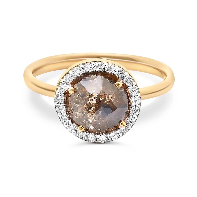 Tresor Collection - Organic Diamond Slice & Diamond Ring In 18K Yellow Gold
