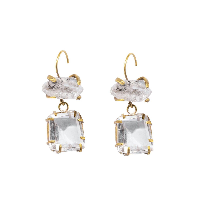 Lily Flo Jewellery - Asteria Herkimer Diamond & Rock Crystal Drop Earrings
