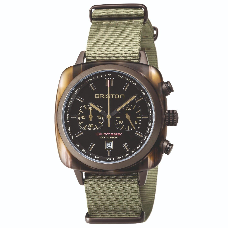 Briston Watches - Briston Clubmaster Sport Chronograph Wooden Green Acetate, Matt Black Dial And Light Green Nato Strap