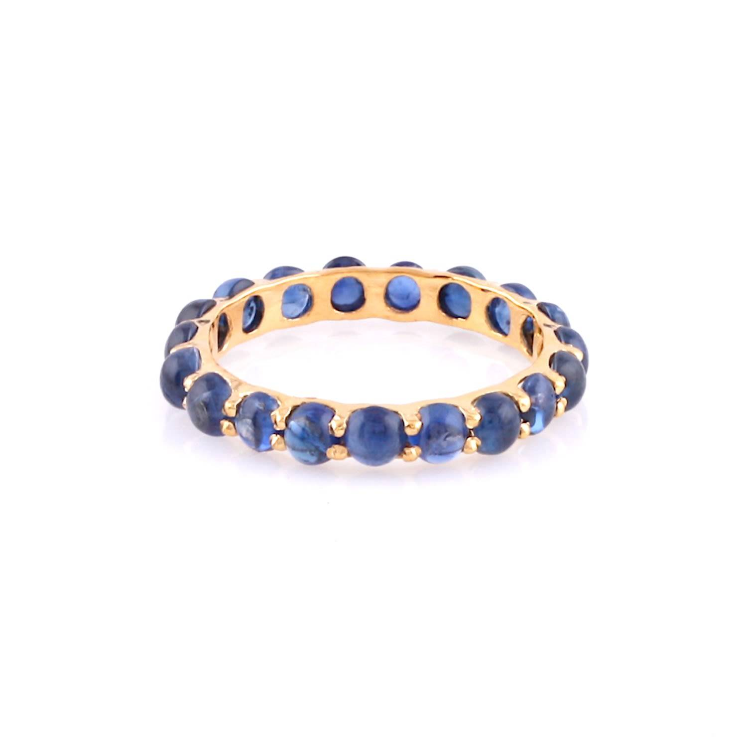 Tresor Collection - Blue Sapphire Round Cabochon Eternity Ring In 18K Yellow Gold