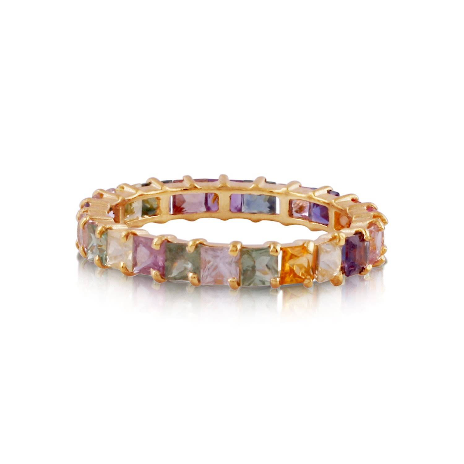 Tresor Collection - Multicolor Sapphire Square Stacking Ring In 18K Yellow Gold