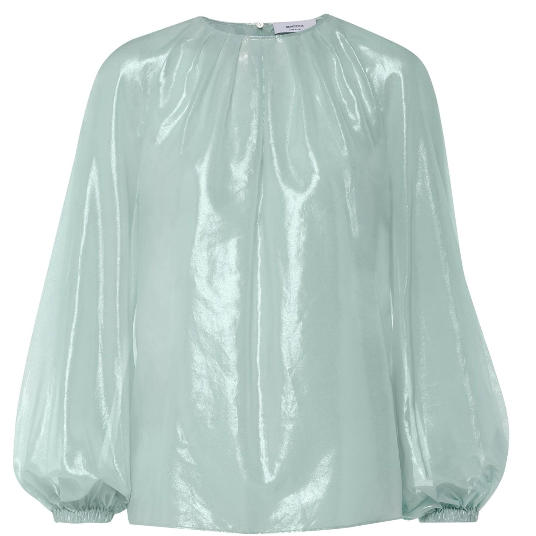 Nemozena - Silver Round Neck Full Volume Sleeves Blouse