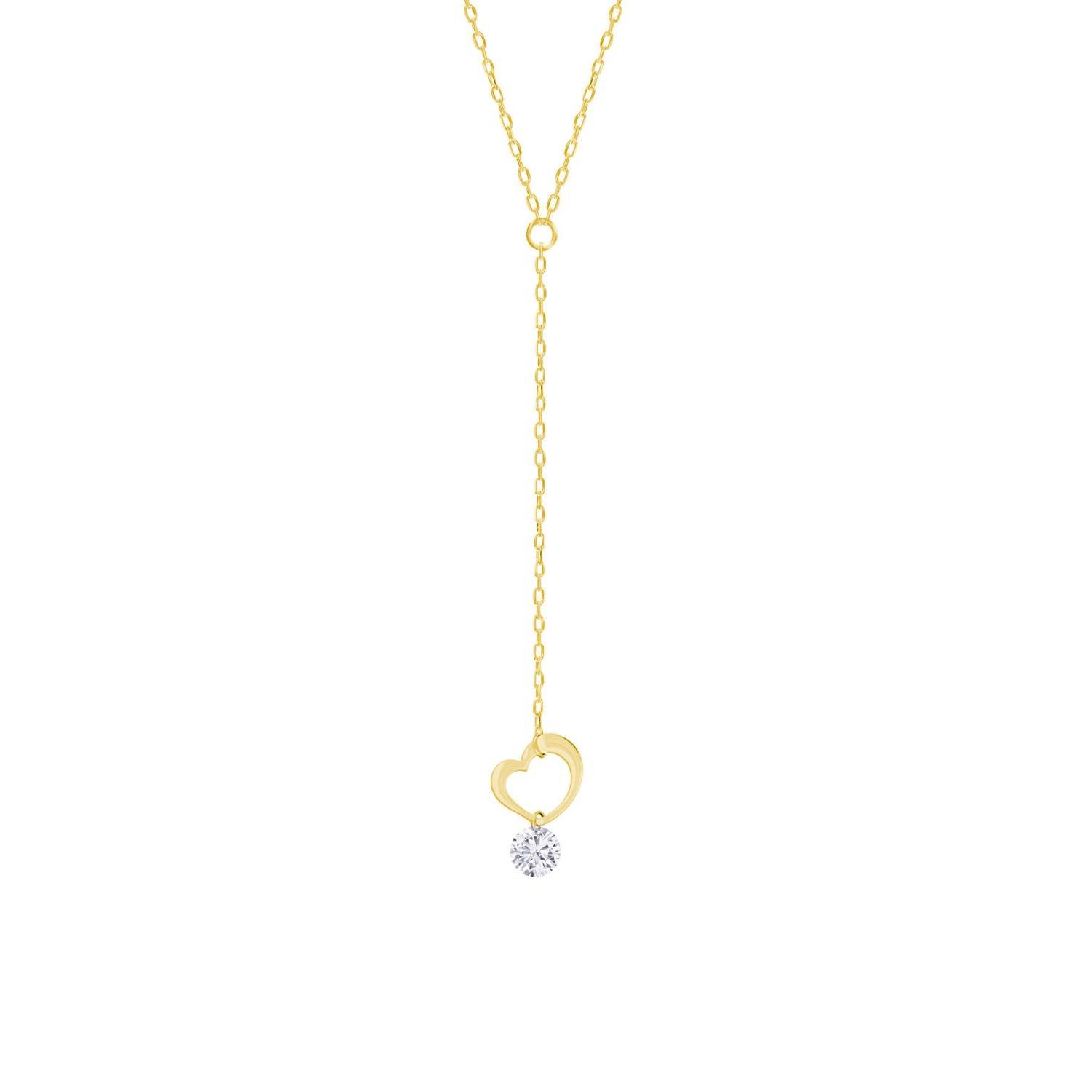 Khoe Jewellery - Heart Shaped Lariat & Y Necklace In 18K Yellow Gold