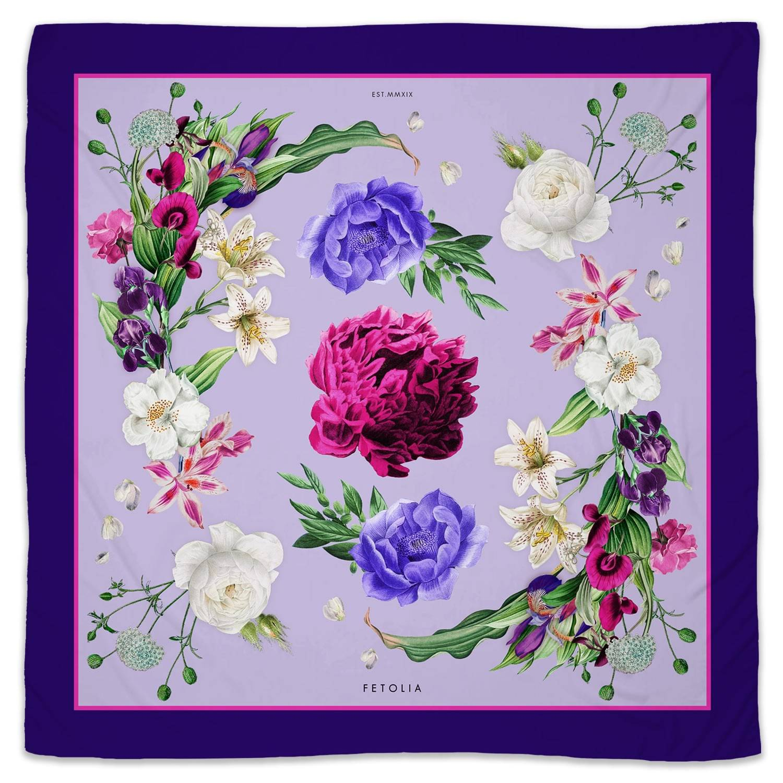 Fetolia - Secret Garden Premium Silk Scarf - Blue 90 x 90cm