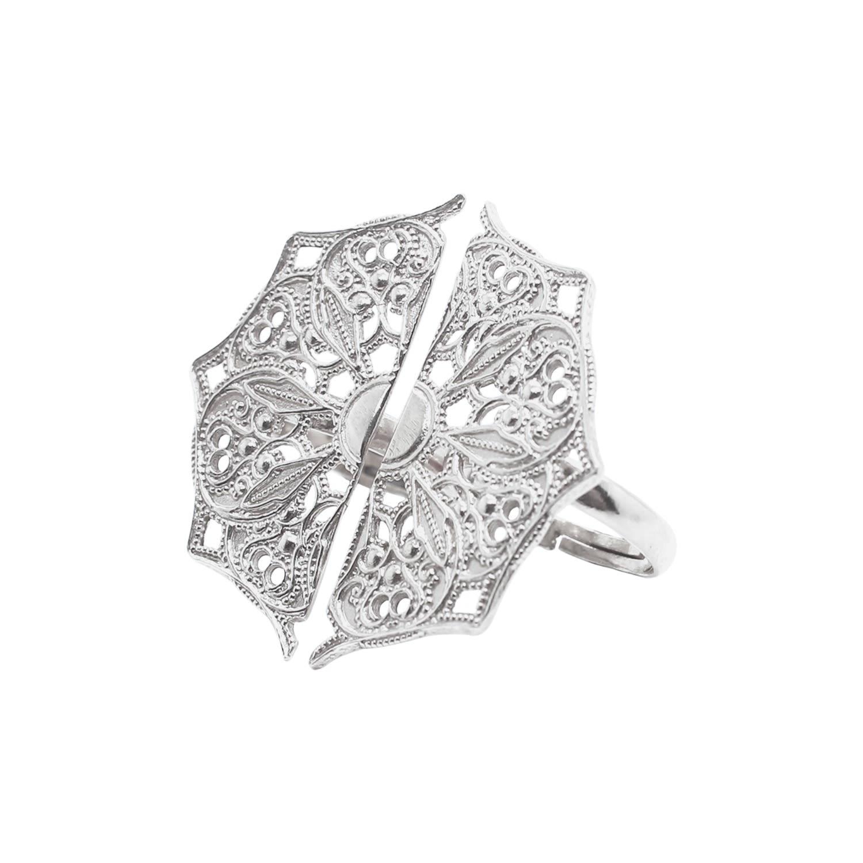 Lucy Ashton Jewellery - Silver Adjustable Half Moon Mandala Rings