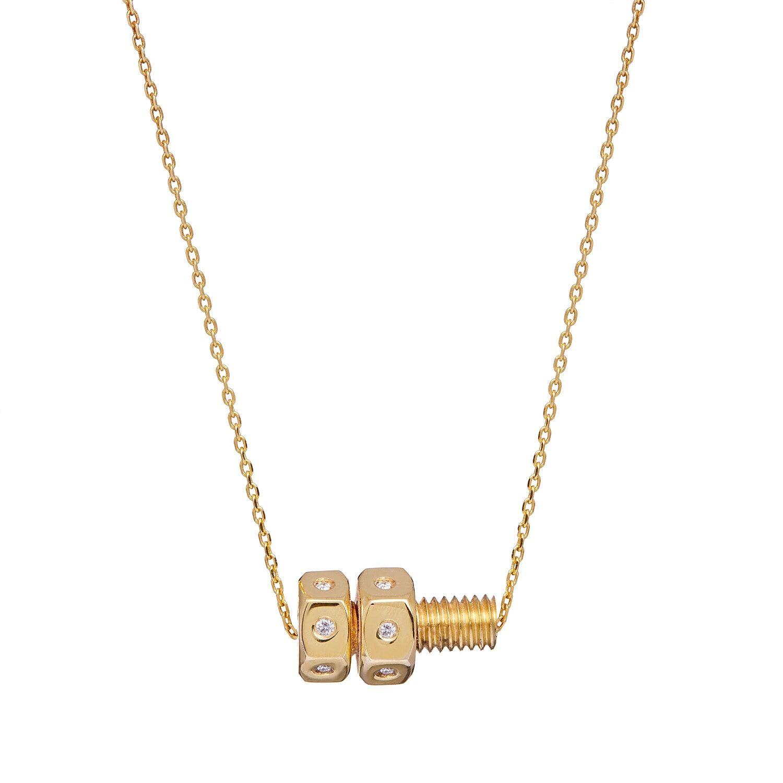 Lucy Priest Jewellery - Nut & Bolt Mini Diamond Necklace