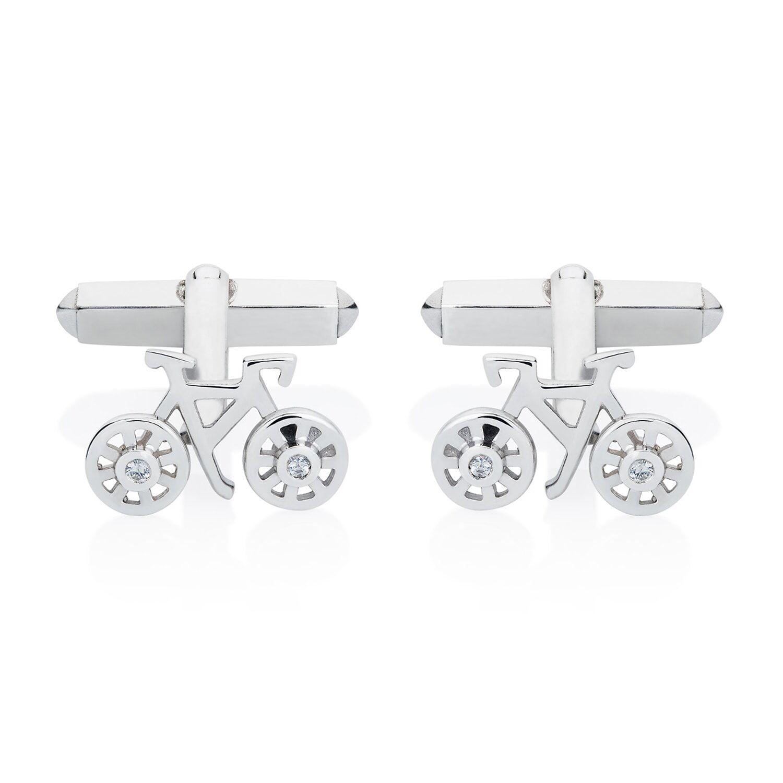 Lee Renee - Bike Cufflinks White Sapphires & Silver