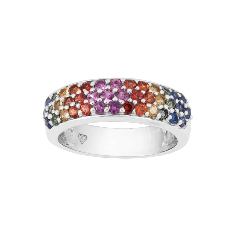 RAKAM JEWELLERY - Rainbow Ring In 9K White Gold
