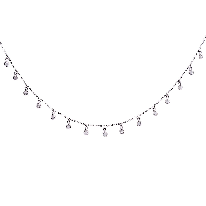Tresor Collection - Organic Diamond Dangle Necklace In 18K White Gold