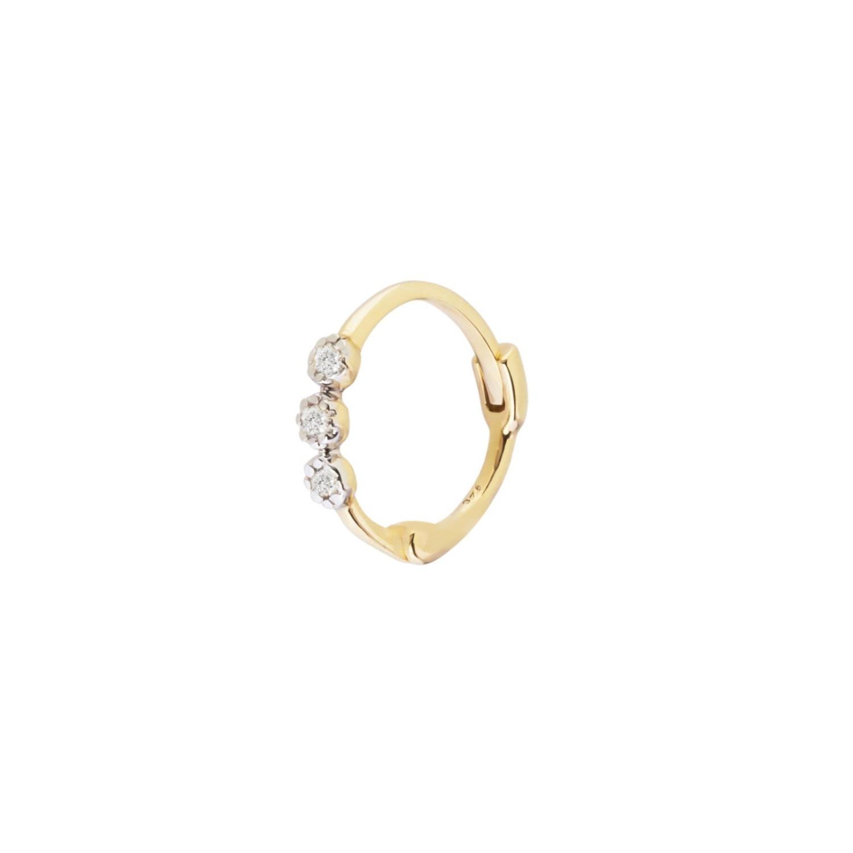 Zohreh V. Jewellery - Diamond Trilogy Huggie Hoop Earring 9K Gold
