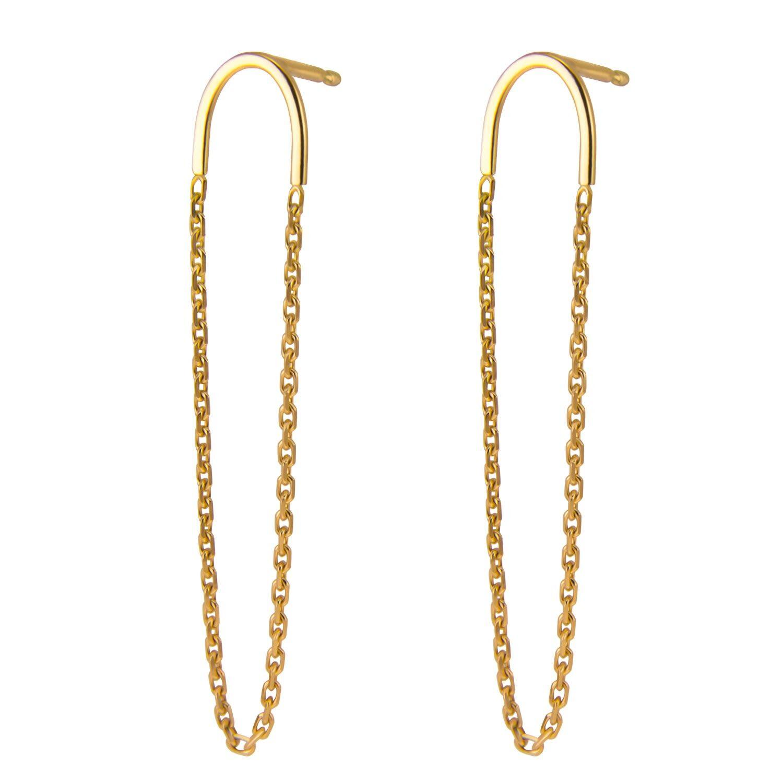 Irena Chmura Jewellery - Arc & Chain Earrings 18K