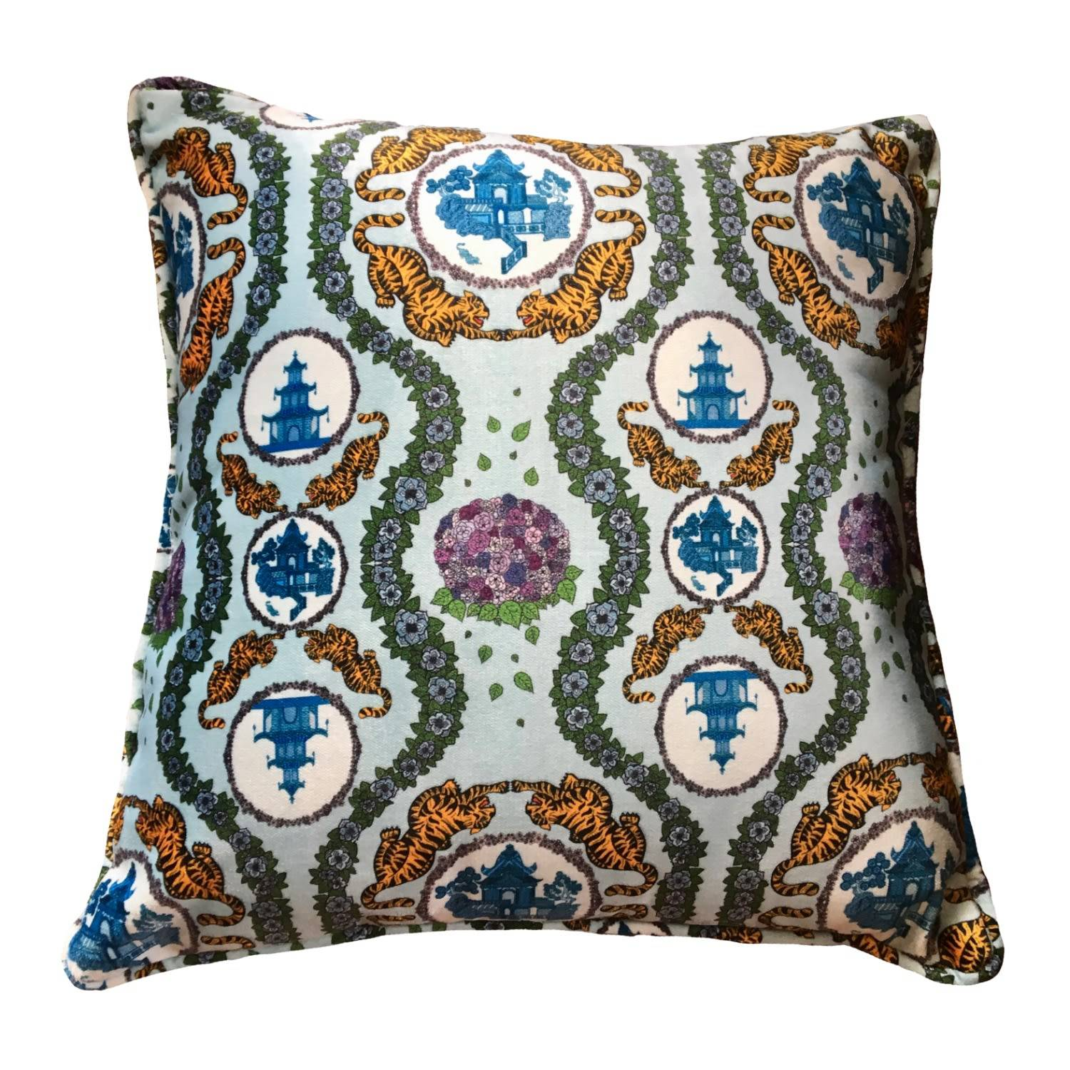 Abigail Hardie Home - Tiger Chinoiserie in Blue Velvet Large Cushion