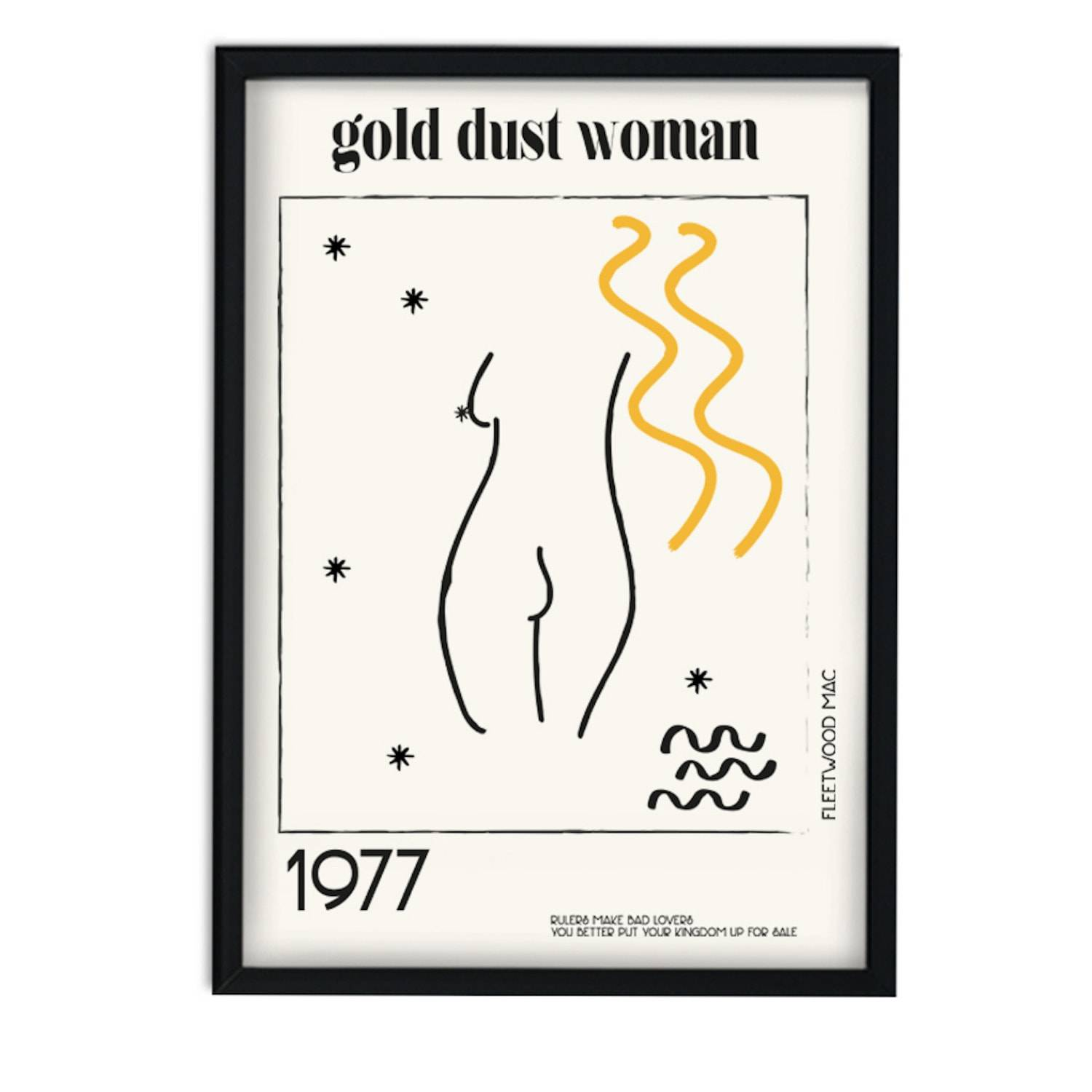 Fanclub - Gold Dust Woman Fleetwood Mac Music Inspired Abstract Retro A3 Art Print