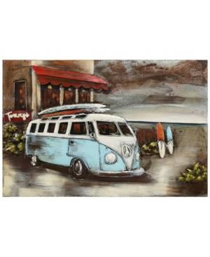 "Empire Art Direct Paddle boarding Mixed Media Iron Hand Painted Dimensional Wall Art, 32"" x 48"" x 2.8""  - Red"